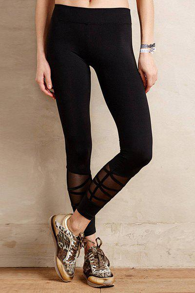 Casual Style Black Voile Spliced Women's Leggings tt tf ths 02b hybrid style black ver convoy asia exclusive