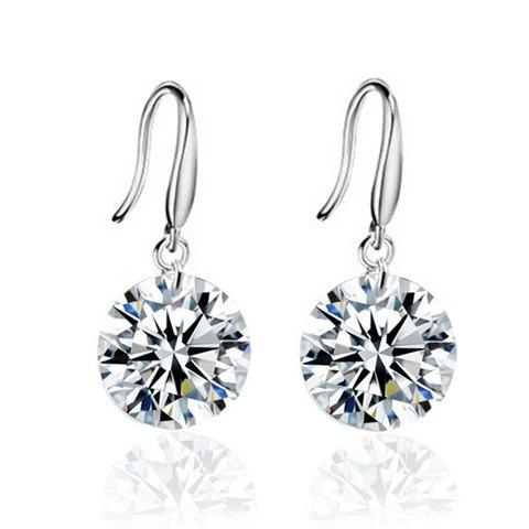 Pair of Zircon Rhinestone Drop Earrings - WHITE GOLDEN