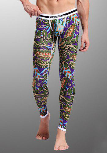Colorized Leaf Print Suture Stripes Elegant Low Waist U Convex Pouch Men's Long Johns Pants