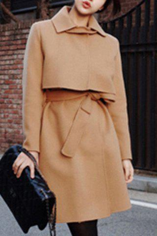 Trendy Turn-Down Collar Long Sleeve Belted Solid Color Women's Coat