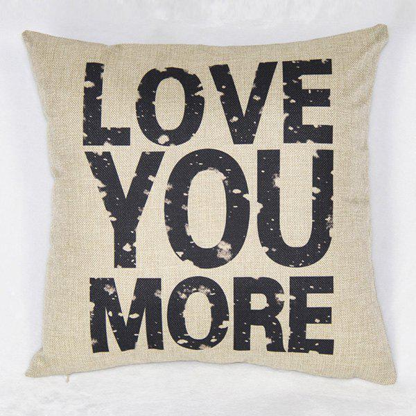 Simple Letter Pattern Linen Decorative Pillowcase (Without Pillow Inner) - AS THE PICTURE