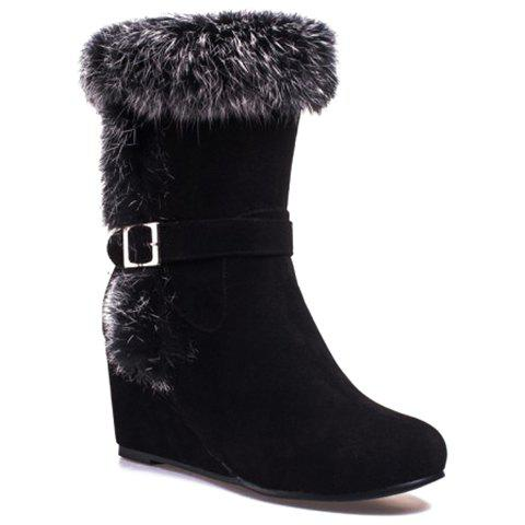 Stylish Wedge Heel and Faux Fur Design Mid-Calf Boots For Women - BLACK 39