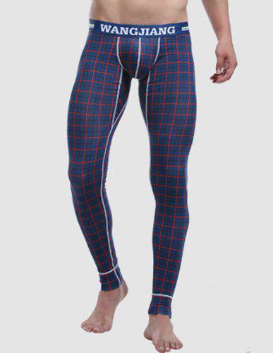 Letters Printed Elastic Waist Suture Stripes U Convex Pouch Men's Plaid Long Johns Pants