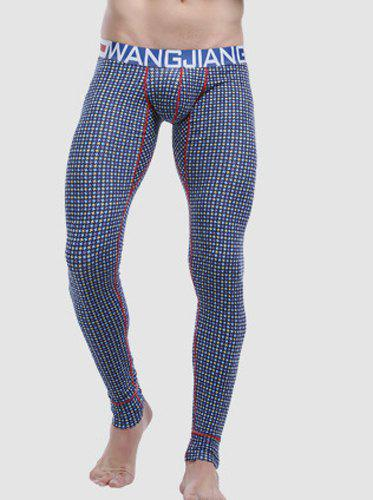 Elastic Waist Convex Pouch Plaid Gym Pants - CHECKED S