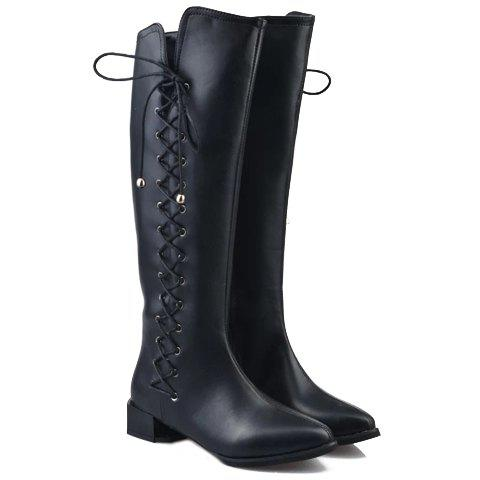 Trendy Lace-Up and Stitching Design Women's Boots - 38 BLACK