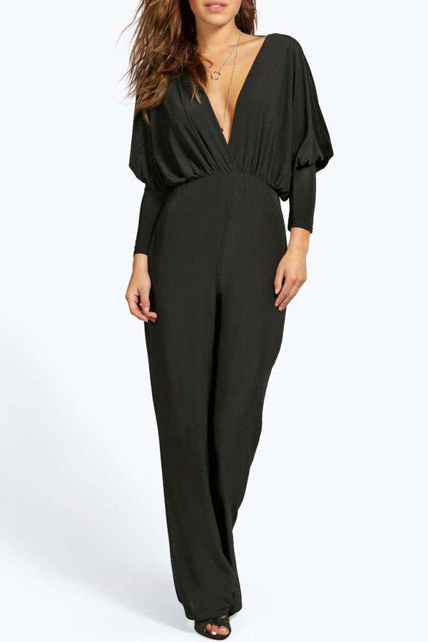 Stylish Plunging Neck Long Sleeves Backless Solid Color Women's Jumpsuit - BLACK S