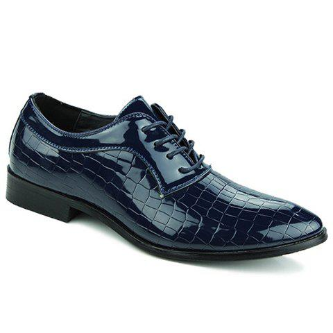 Simple Patent Leather and Crocodile Print Design Formal Shoes For Men - BLUE 40