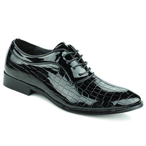 Simple Patent Leather and Crocodile Print Design Formal Shoes For Men - BLACK 43