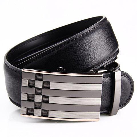 Stylish Plaid and Stripy Metal Automatic Buckle Faux Leather Belt For Men - BLACK