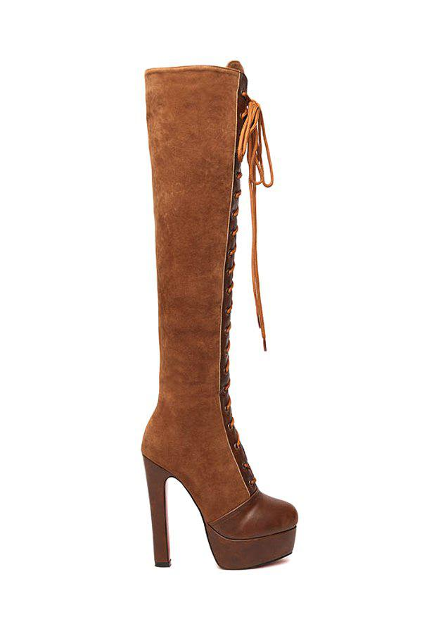 Trendy Criss-Cross and Suede Design Women's Knee-High Boots - BROWN 37
