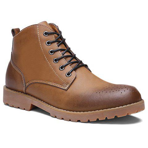 Stylish PU Leather and Lace-Up Design Boots For Women - 43 LIGHT BROWN