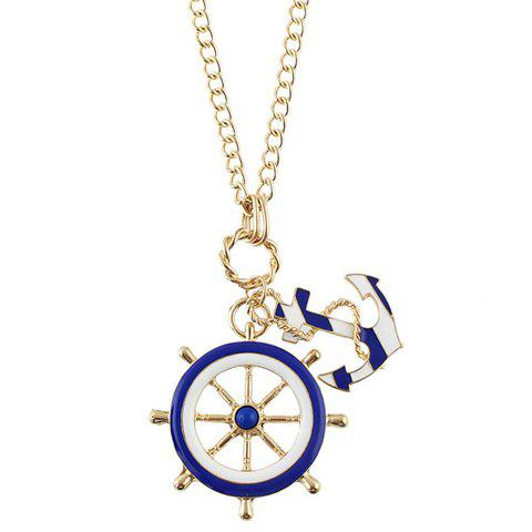 Delicate Anchor Rudder Necklace For Women - GOLDEN