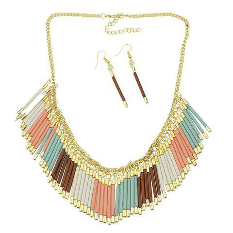 A Suit of Delicate Tassel Necklace and Earrings For Women - COLORFUL
