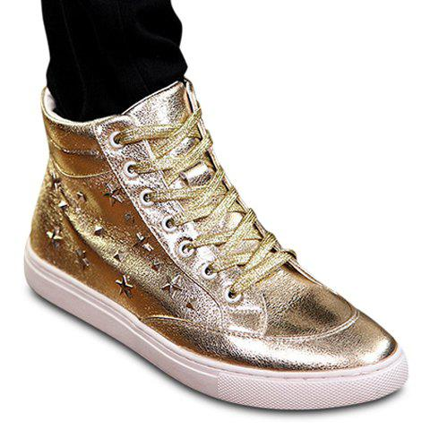 Stylish Lace-Up and Pentacle Pentagram Design Casual Shoes For Men - GOLDEN 42