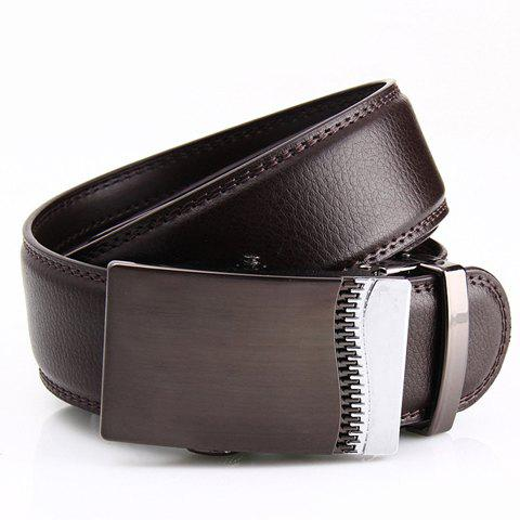Stylish Fake Zipper Shape Embellished Metal Automatic Buckle Belt For Men - COFFEE