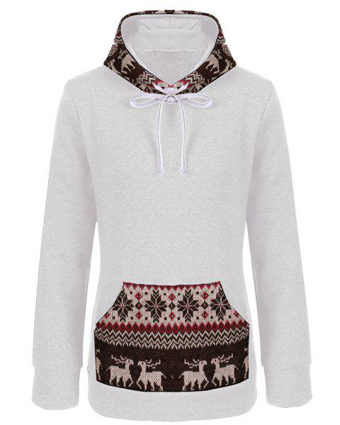 Women's Stylish Long Sleeve Embroidery Fawn Pattern Pullover Hoodie - WHITE M