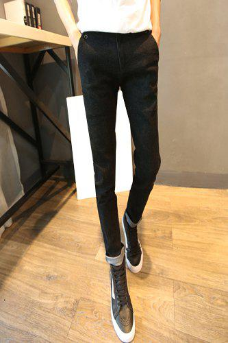PU Leather Spliced Button Design Bleach Wash Narrow Feet Zipper Fly Men's Slimming Jeans - BLACK 33