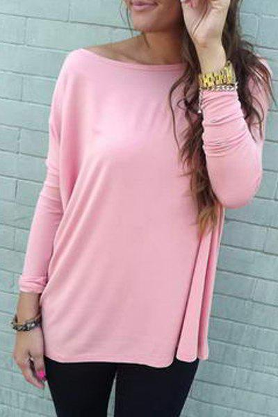 Stylish Boat Neck Long Batwing Sleeves Pure Color Women's T-Shirt