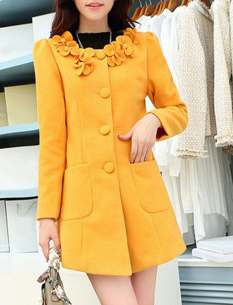 Stylish Long Sleeve Single Breasted Scoop Neck Appliques Coat For Women - YELLOW 2XL