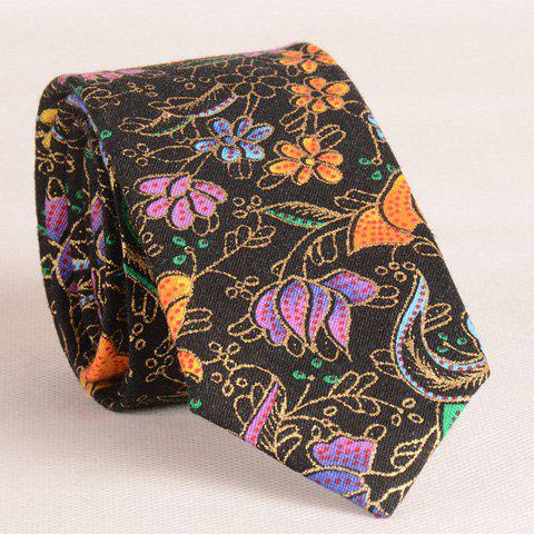Stylish Flower and Polka Dot Print 6CM Width Men's Tie - BLACK