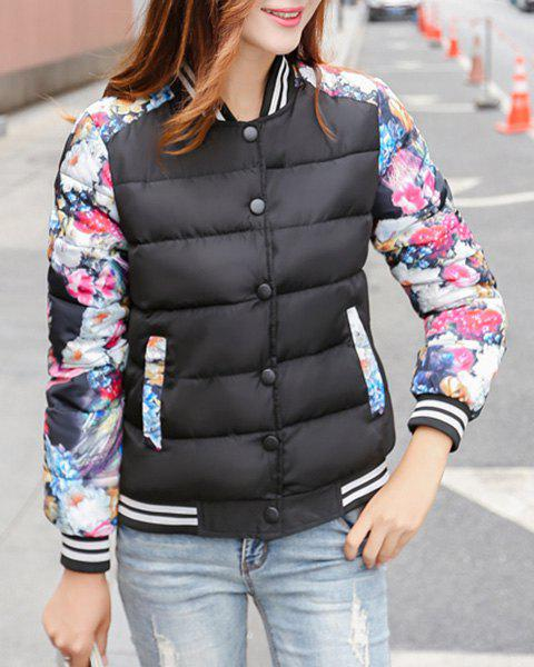 Trendy Women's Stand Collar Long Sleeves Floral Print Jacket - BLACK L