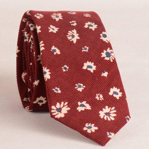 Stylish Chrysanthemum Pattern 6CM Width Men's Wine Red Tie - WINE RED