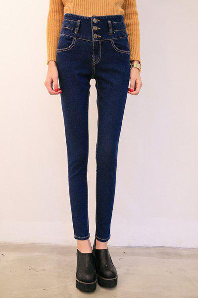 Simple Blue Buttoned Jeans For Women
