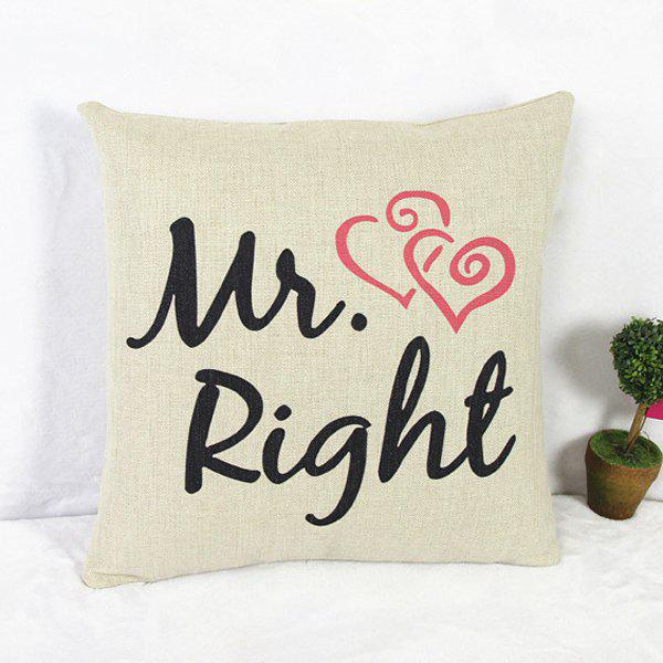 Classical Mr Pattern Linen Decorative Pillowcase (Without Pillow Inner)