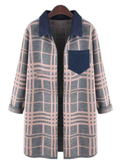 Sweet Plaid Turn-Down Collar Long Sleeve Cardigan For Women - PINK 4XL