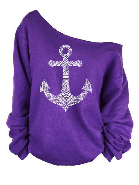 Stylish Long Sleeve Loose-Fitting Raw Edge Anchor Print Women's Sweatshirt