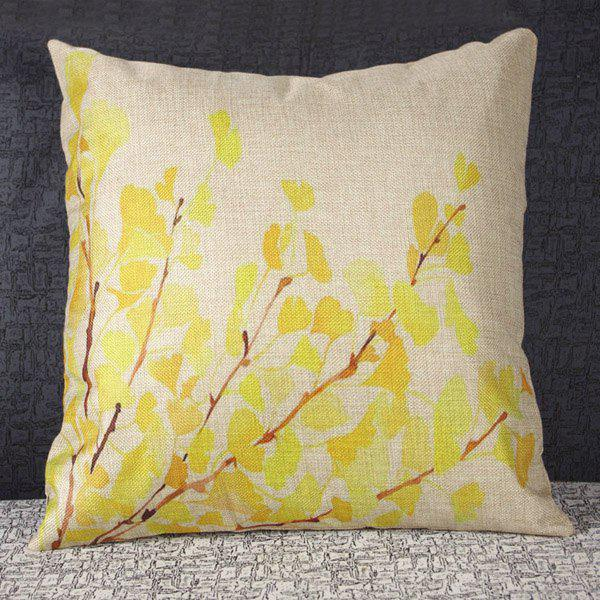 Elegant Leaf Pattern Linen Decorative Pillowcase (Without Pillow Inner) - AS THE PICTURE
