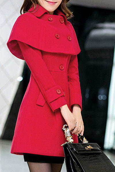 Elegant Women's Turn-Down Collar Long Sleeves Cape Coat - RED XL