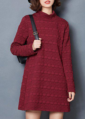 Casual Style Long Sleeve Stand Collar Pure Color Women's Dress - RED XL