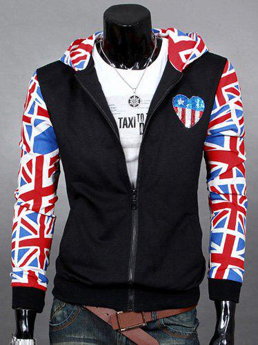 Union Jack Printed Long Sleeves Spliced Heart Applique Rib Spliced Hooded Long Sleeves Men's Slimming Hoodie - BLACK XL