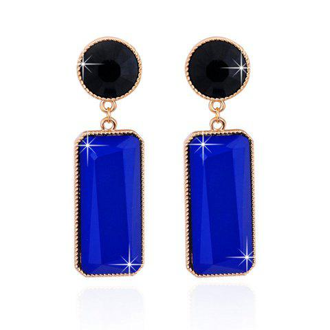 Rectangle Fake Gem Drop Earrings - BLUE