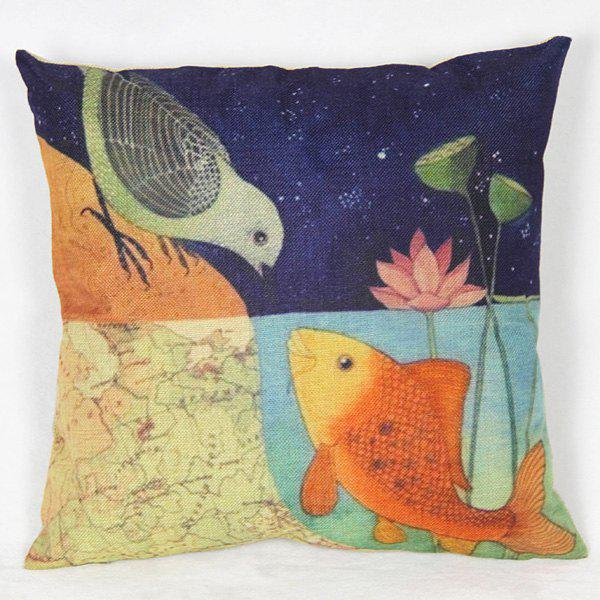 Casual Linen Fish and Bird Pattern Decorative Pillowcase (Without Pillow Inner)