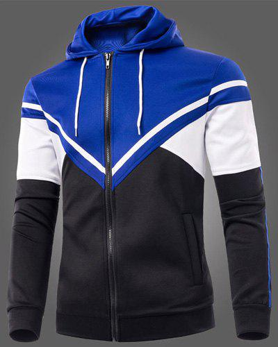 Color Block Triangle Spliced Patch Pocket Drawstring Hooded Long Sleeves Men's Slimming Hoodie