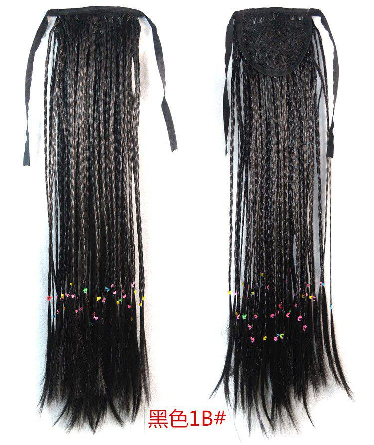 Charming Long With Braided Straight Fashion Heat Resistant Synthetic Capless Ponytail For Women - B