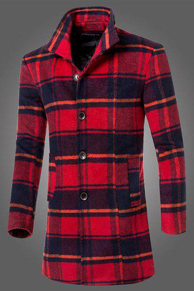 Slimming Turn-down Collar Patch Pocket Single-Breasted Long Sleeves Men's Woolen Blend Plaid Coat - RED L