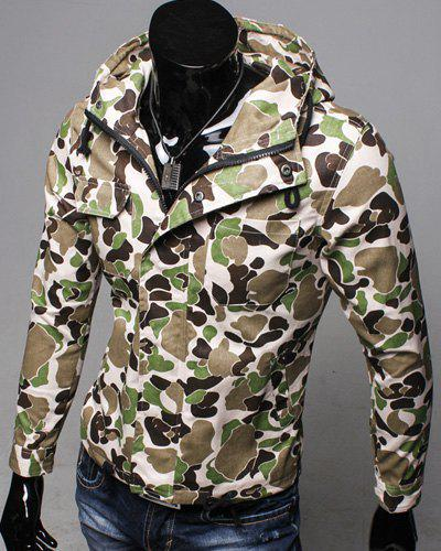 Slimming Hooded Patch Pocket French Front Back Slit Slimming Long Sleeves Men's Camo Coat - ARMY GREEN L