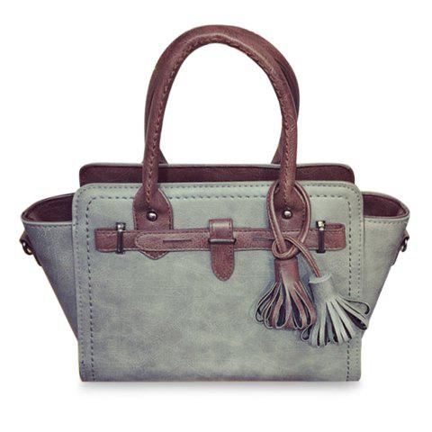 Ethnic Style Tassel and Rivets Design Tote Bag For Women - GRAY