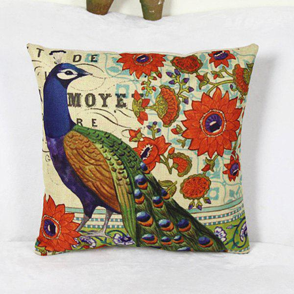 Warm Peacock Pattern Linen Decorative Pillowcase (Without Pillow Inner) - COLORMIX