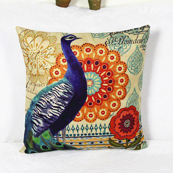 Casual Peacock Pattern Linen Decorative Pillowcase (Without Pillow Inner) - COLORMIX