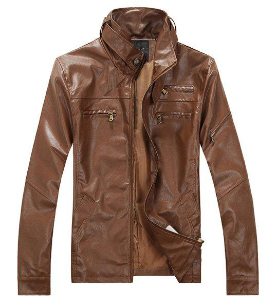 PU Leather Design Multi-Zipper Patch Pocket Solid Color Stand Collar Long Sleeves Men's Slim Fit Jacket - LIGHT BROWN M