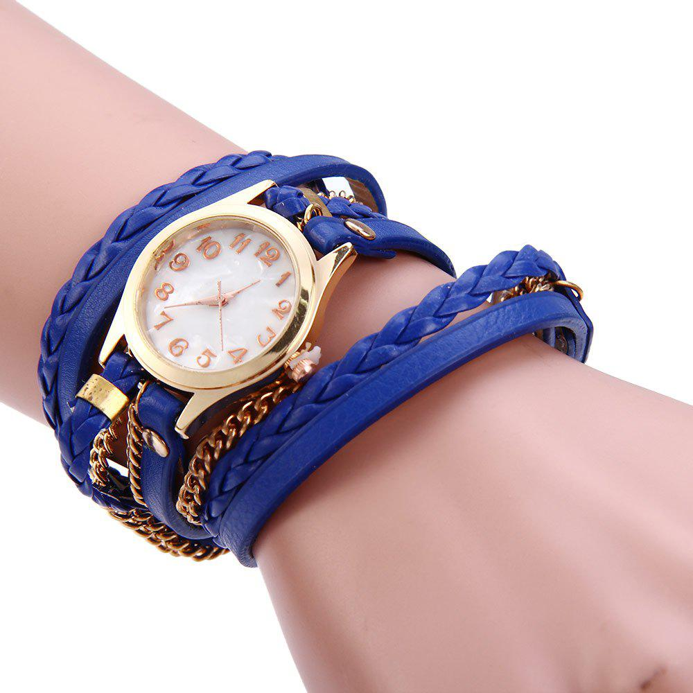 Women Vintage Weave Wrap Leather Bracelet Wrist Watch - BLUE