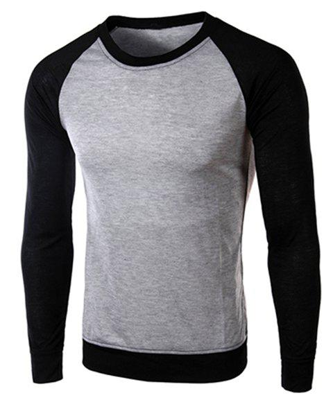 Classic Color Block Splicing Round Neck Long Sleeves Men's Slimming T-Shirt - BLACK/GREY M