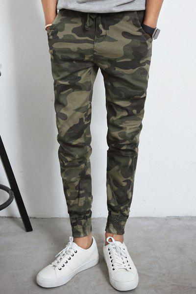 Camo Narrow Feet Patch Pocket Color Block Slimming Lace-Up Men's Jogger Pants - LIGHT GREEN S