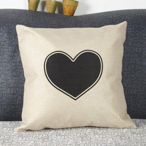 Classical Heart Shape Pattern Linen Decorative Pillowcase (Without Pillow Inner) - WHITE/BLACK