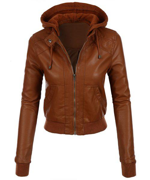 Stylish Long Sleeve Hooded Solid Color Faux Leather Spliced Women's Jacket - CAMEL L