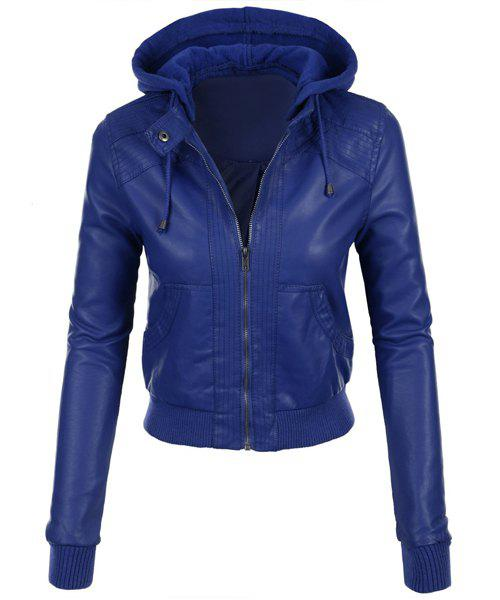 Stylish Long Sleeve Hooded Solid Color Faux Leather Spliced Women's Jacket - SAPPHIRE BLUE M